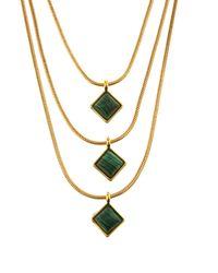 Diane von Furstenberg - Green Malachite And Gold-plated Necklace - Lyst