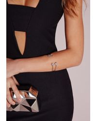 Missguided - Metallic Dainty Jewel Bangle Set Silver - Lyst