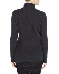 Qi - Gray Diagonal Ribbed Cashmere Turtleneck Sweater - Lyst