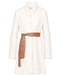 Liu Jo   White Jacquard Coat With Belt   Lyst
