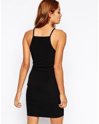 ASOS - Black 90s Bodycon Dress With High Neck In Rib - Lyst