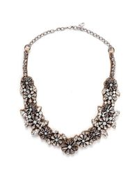 Valentino | White Floral Crystal Satin Necklace | Lyst