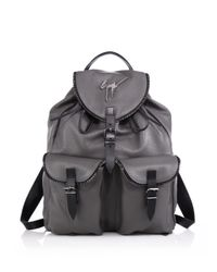 Giuseppe Zanotti - Gray Zipper-trim Leather Backpack for Men - Lyst