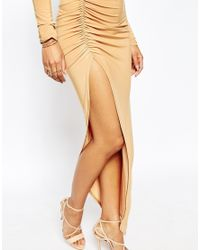 Club L - Natural Slinky Ruched Detail Dress With Extreme Low Back - Lyst