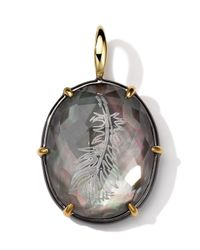 Ippolita - Purple Black Sterling Silver And 18K Gold Intaglio Feather Charm - Lyst