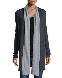 Neiman Marcus | White Cotton/cashmere Double-knit Open Cardigan | Lyst