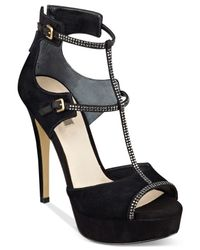 Guess - Black Women's Karlee T-strap Platform Sandals - Lyst