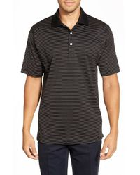 Peter Millar | Black 'subconcious Stripe' Regular Fit Egyptian Cotton Lisle Polo for Men | Lyst