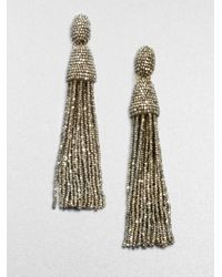 Oscar de la Renta | Metallic Long Beaded Tassel Clip-on Earrings | Lyst