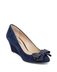 BCBGeneration | Blue Asya Suede Wedges | Lyst