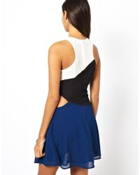 Glamorous - Black Skater Dress with Cutout Side - Lyst