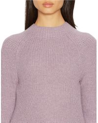 Lauren by Ralph Lauren | Purple Ribbed Merino Wool Sweater | Lyst