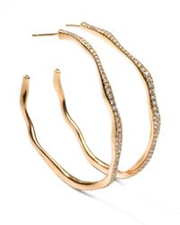 Ippolita - Metallic Drizzle #3 Wavy Diamond Gold Hoop Earrings - Lyst