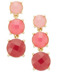 Kate Spade | Pink Gold-tone Rose Stone Linear Earrings | Lyst