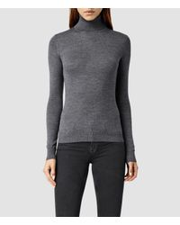 AllSaints - Gray Albar Roll Neck Sweater Usa Usa - Lyst
