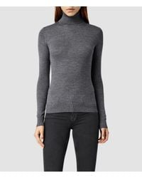 AllSaints | Gray Albar Roll Neck Sweater Usa Usa | Lyst
