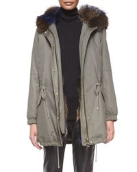Vince - Gray Parka Jacket With Fur-trim Hood - Lyst