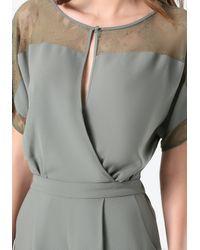 Bebe - Gray Jessy Lace Trim Jumpsuit - Lyst