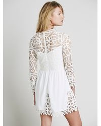 Free People - White Small Talk Pink Printed Dress - Lyst