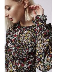 TOPSHOP | Black Ditsy Doll Dress | Lyst