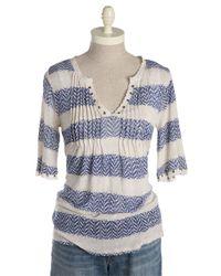 Lucky Brand | Blue Charlotte Pintuck Geo Stripe Top | Lyst