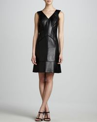 J. Mendel | Black Leather Paneled Dress | Lyst