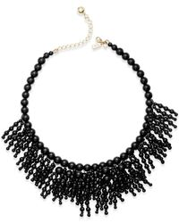 Kate Spade | Black 12k Gold-plated Beaded Fringe Statement Necklace | Lyst