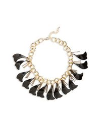 TOPSHOP - Black Petal Chain Collar Necklace - Lyst