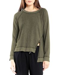 Michael Stars | Green Asymmetrical Front Slit Pullover | Lyst