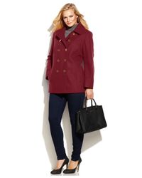 Michael Kors | Red Michael Plus Size Double-breasted Peacoat | Lyst