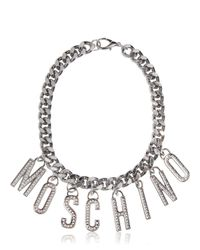 Moschino - Metallic Logo Lettering Rhinestone Necklace - Lyst