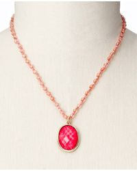 Ann Taylor - Red Oval Pendant Necklace - Lyst
