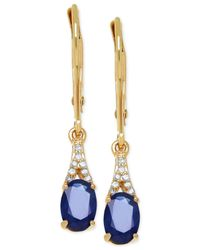 Macy's | Blue Sapphire (1-2/5 Ct. T.w.) And Diamond Accent Earrings In 10k Gold | Lyst