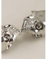 Alexander McQueen - Metallic Twin Skull Bracelet - Lyst