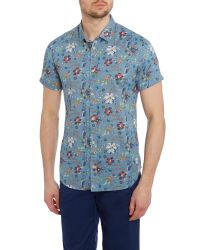 Blend - Blue Print Slim Fit Short Sleeve Classic Collar Shirt for Men - Lyst
