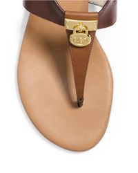 MICHAEL Michael Kors   Brown Hamilton T-strap Leather Sandals   Lyst