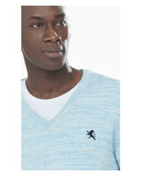 Express | Blue Marled Small Lion V-neck Sweater for Men | Lyst