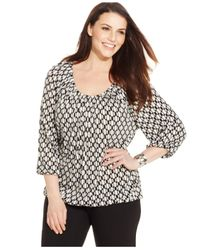 Michael Kors | Black Michael Plus Size Printed Peasant Top | Lyst