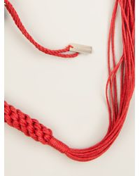 Ann Demeulemeester | Red Fringed Rope Necklace | Lyst