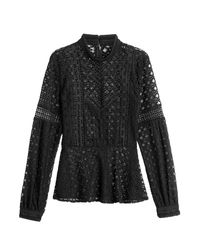Anna Sui - Broderie Anglaise Blouse - Black - Lyst