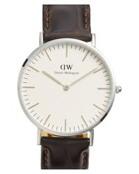 Daniel Wellington - Brown 'classic York' Leather Strap Watch - Lyst