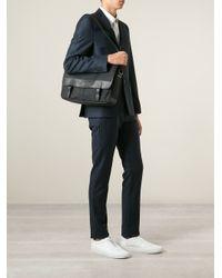 Burberry - Black Leather Trim Messenger Bag for Men - Lyst
