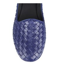 Bottega Veneta - Blue Woven Leather Carpet Slipper - Lyst