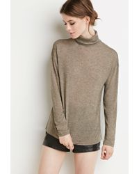 Forever 21 - Green Contemporary Marled Turtleneck Top - Lyst