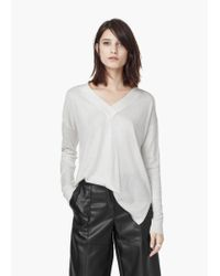 Mango | Natural V-neckline Sweater | Lyst