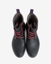 Ted Baker - Black Sealls Leather Brogue Boots for Men - Lyst