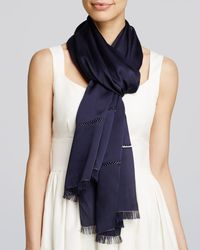 Echo | Blue Metallic Edge Evening Scarf | Lyst