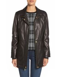 Ellen Tracy | Black Zip Front Leather Coat | Lyst