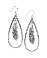 Lucky Brand - Metallic Silvertone Crystal Feather Teardrop Earrings - Lyst