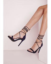 Missguided | Blue Lace Up Barely There Heeled Sandals Navy | Lyst